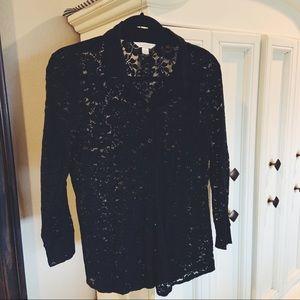 Black button down lace blouse